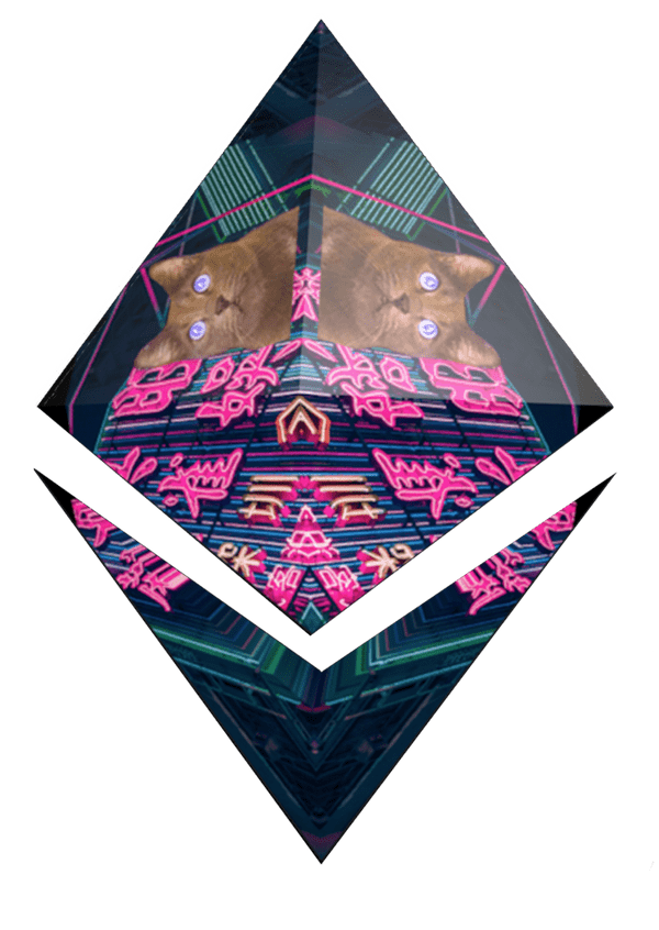 Graphic of ETH glyph with a kaleidoscope of cats