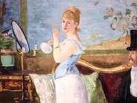 Manet's Nana, a painting of a well-known Mistress, was rejected by the Salon in 1877 and thereafter displayed in an art dealer's window (where it nearly caused a riot!)