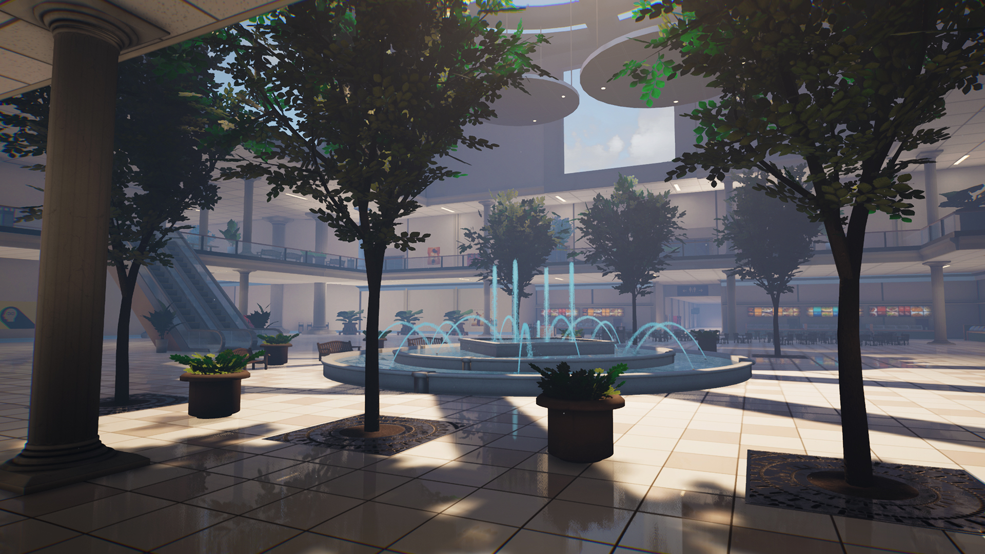 Central hub with midday lighting, looking at the fountain