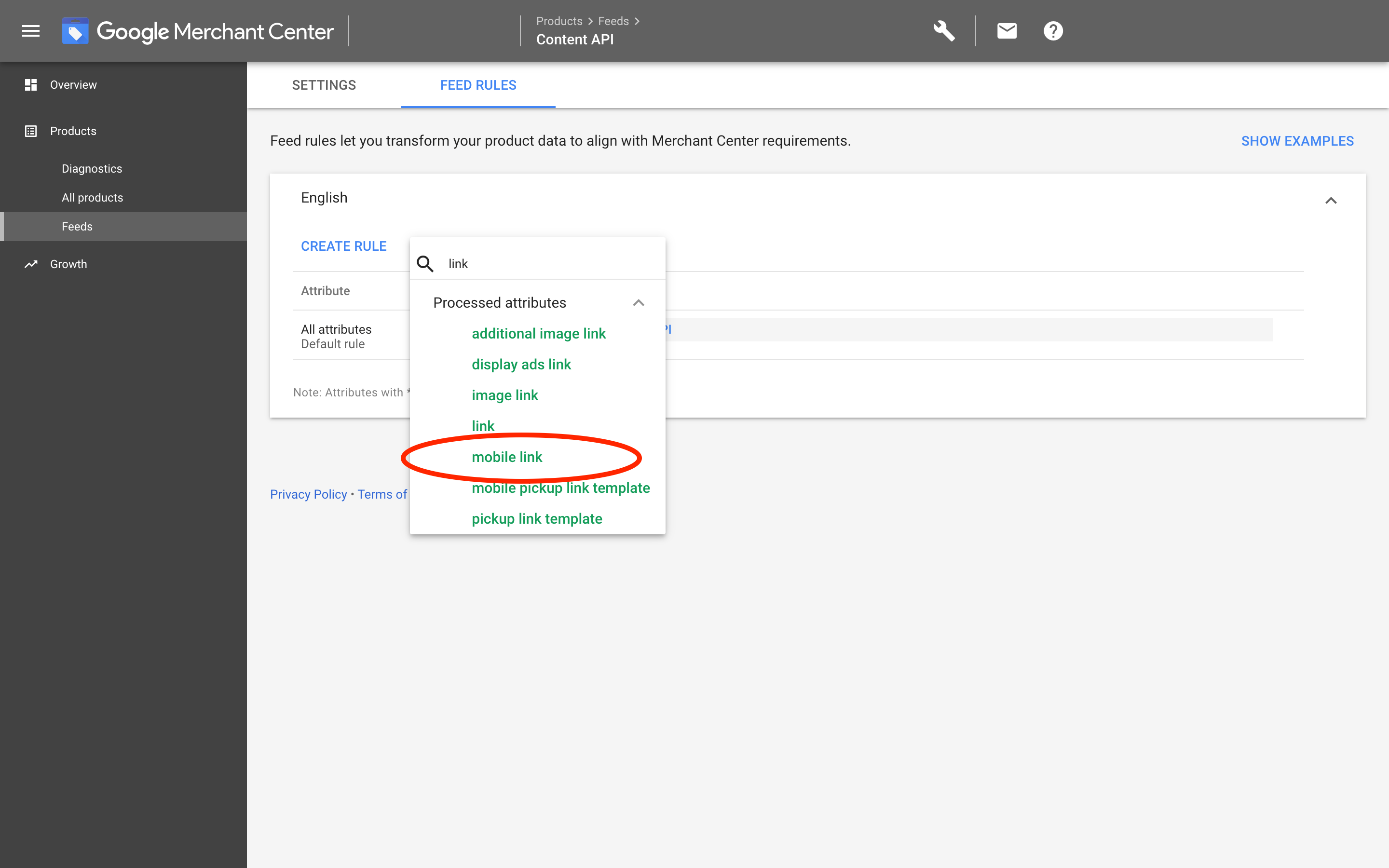 Google Merchants: Create rule