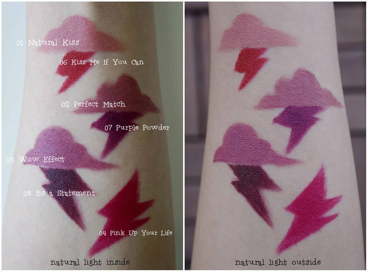 Essence Matt Lipsticks Swatches on arms