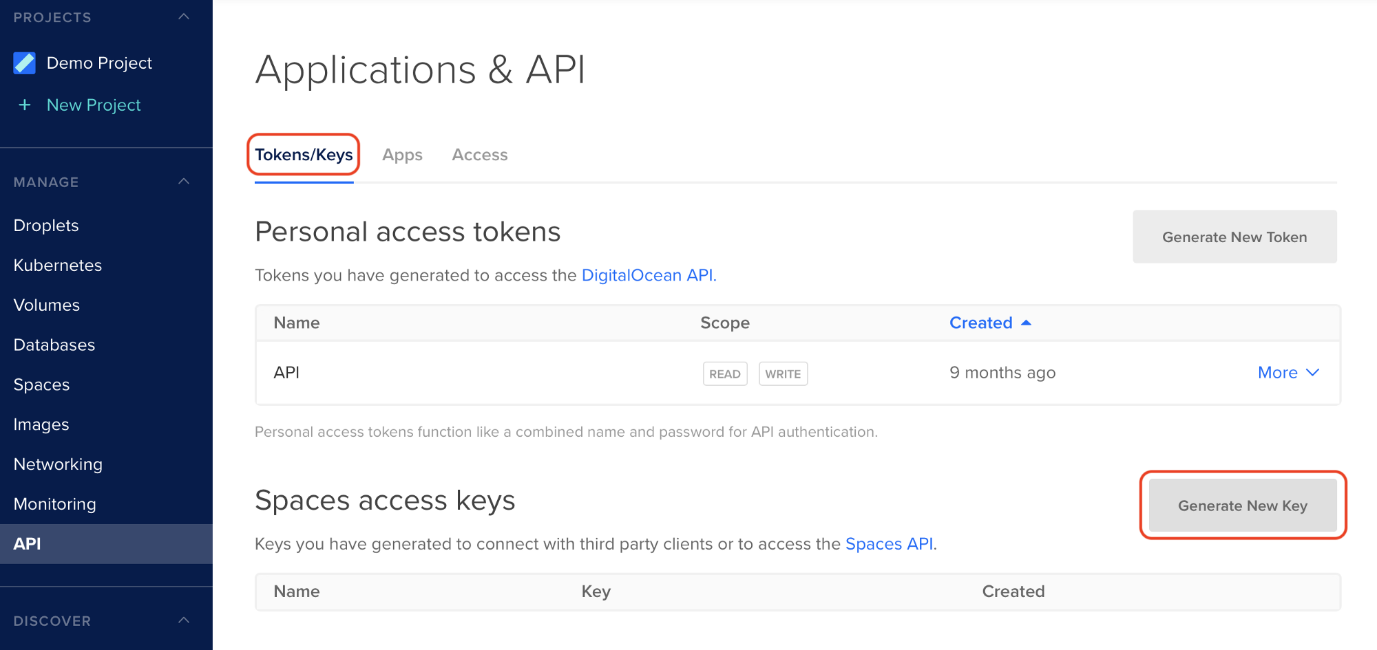Step 2 - DigitalOcean Spaces Credentials