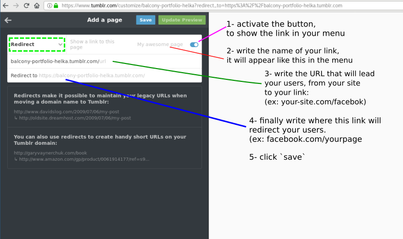 "Create a link in ny Tumblr menu, to an ""external page"""