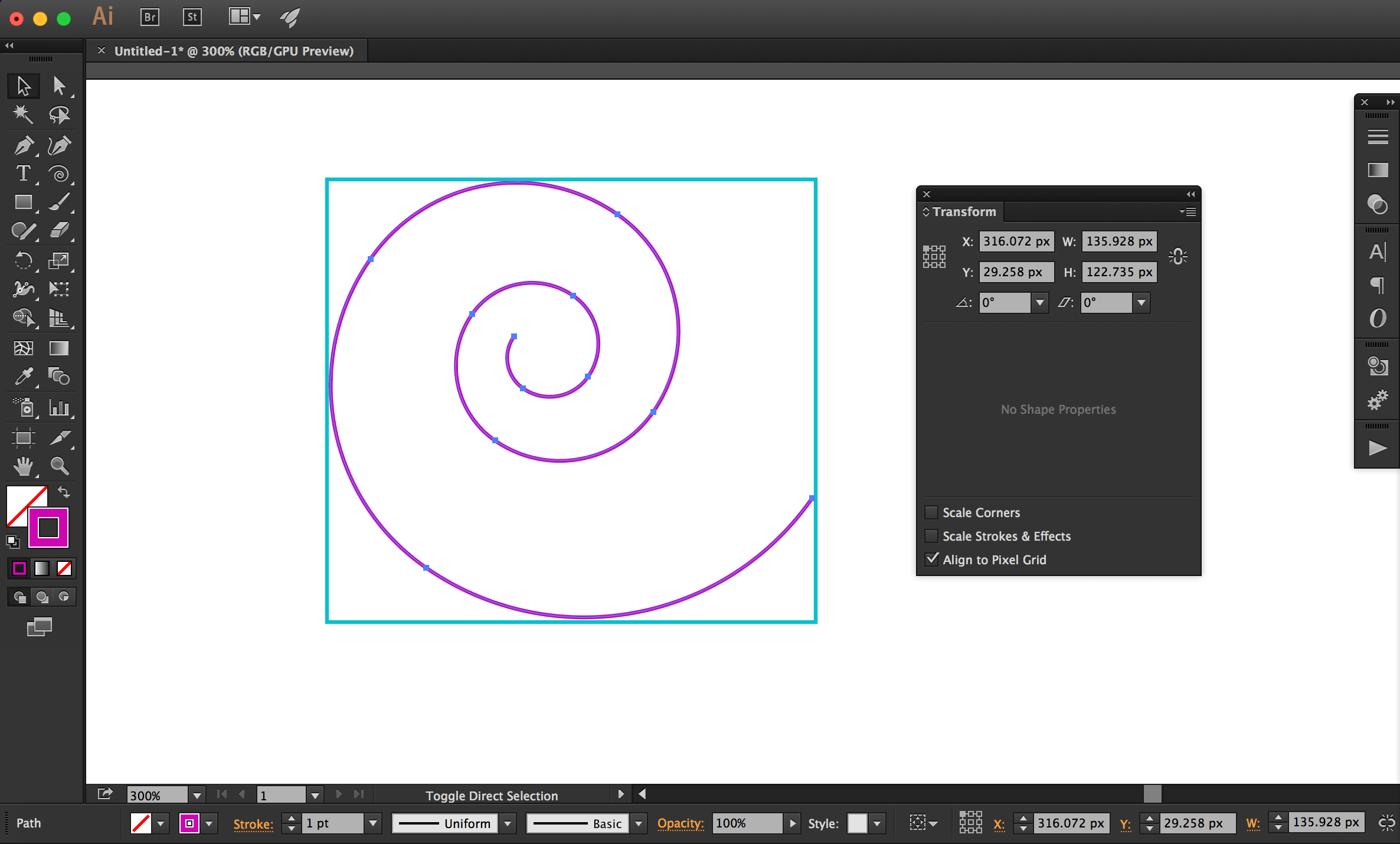 The bounding box of a spiral object drawn in Adobe Illustrator.
