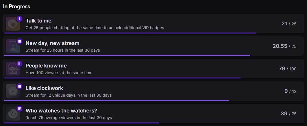 my in progress achievements on Twitch