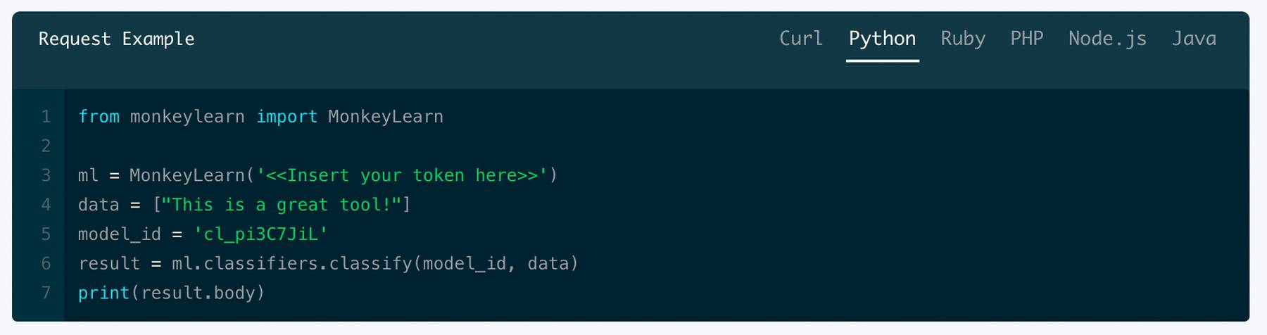 Using the API for processing data with the classifier