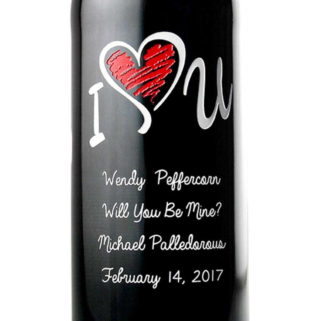 Custom Valentine's Day gift for wine lovers by Etching Expressions