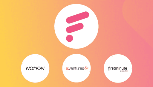 e.ventures, Notion & firstminute VC firm logos all sat below a Futrli logo on an orange and pink gradient background to help announce funding.