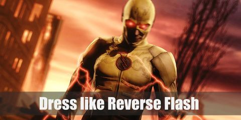 Reverse Flash has the same kind of yellow as the Flash in his helmet and in part of his jacket, but the rest of his suit is all black, signifying his evilness.