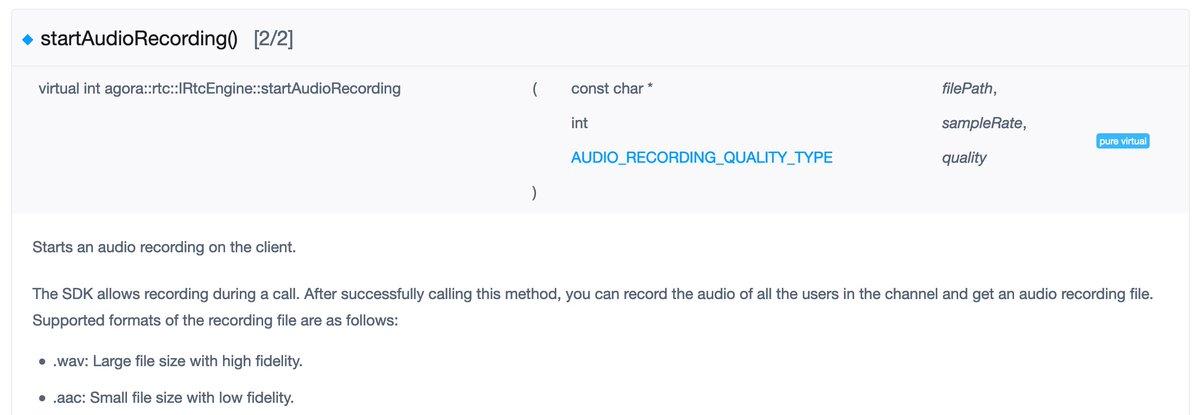 SDK-Dokumentation zu startAudioRecording