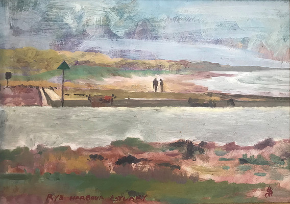 painting of wild looking coast with two small figures in centre