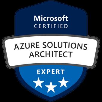 Το επίσημο σήμα της πιστοποίησης Microsoft Certified: Azure Solutions Architect Expert.