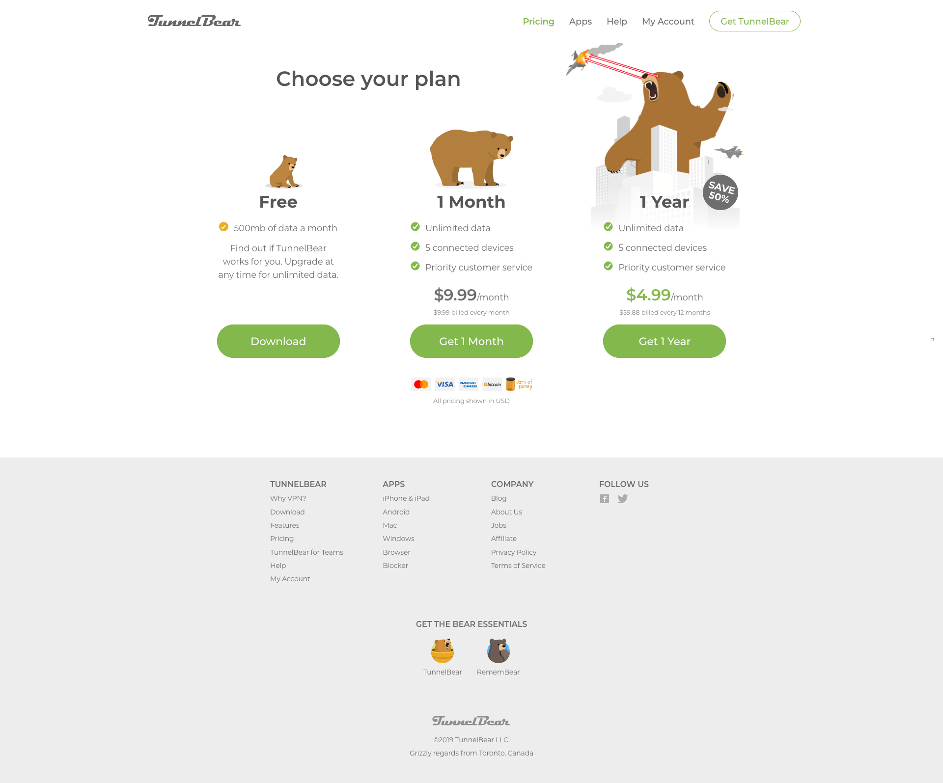 TunnelBear - BestPricingPages