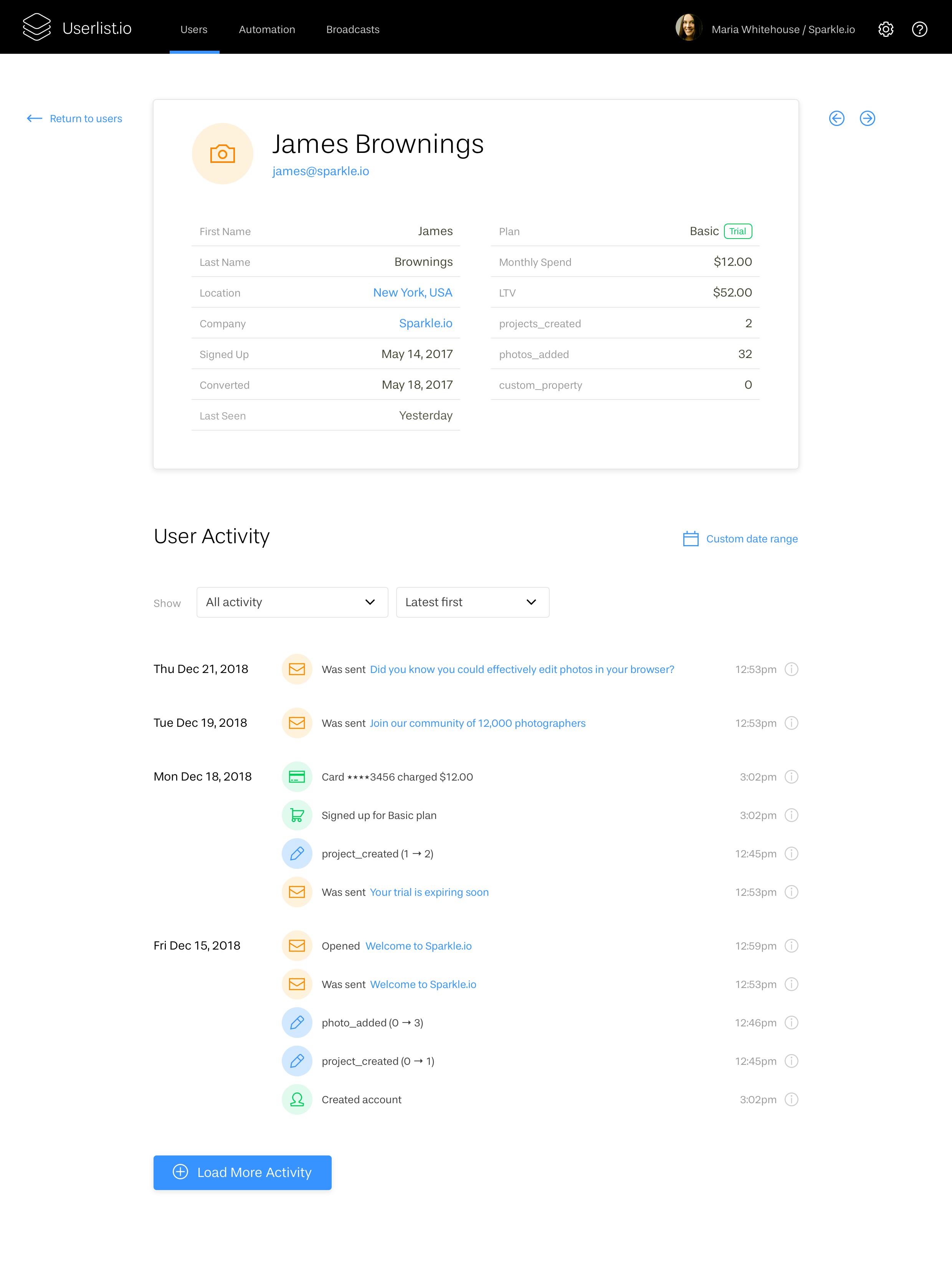 User Profile in Userlist