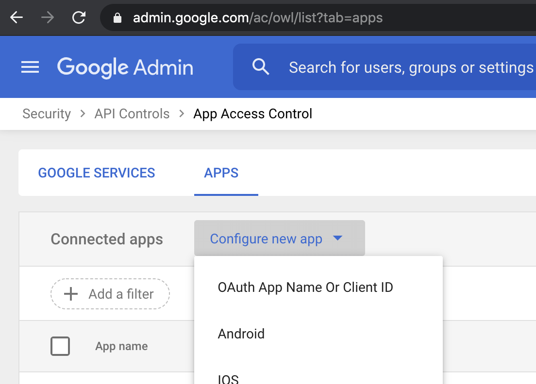 GSuite App Configurations