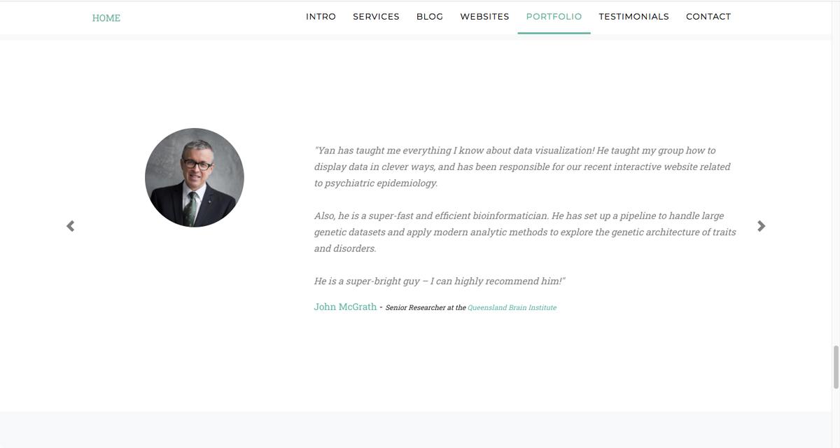 A screen grab taken from Yan Holtz's portfolio, showing a photo of Yan