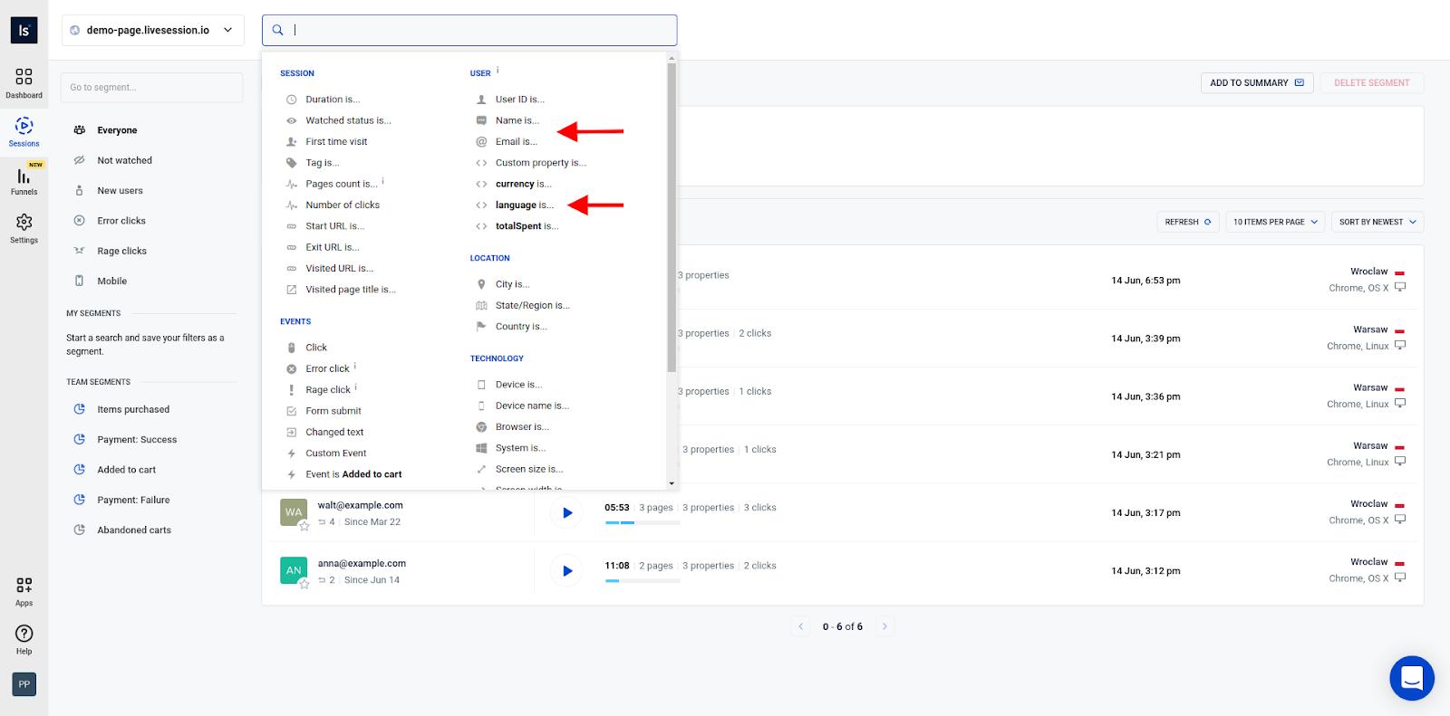 Adding custom properties and identify users
