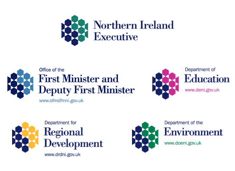 Logos for the Northern Ireland Executive and four of its departments