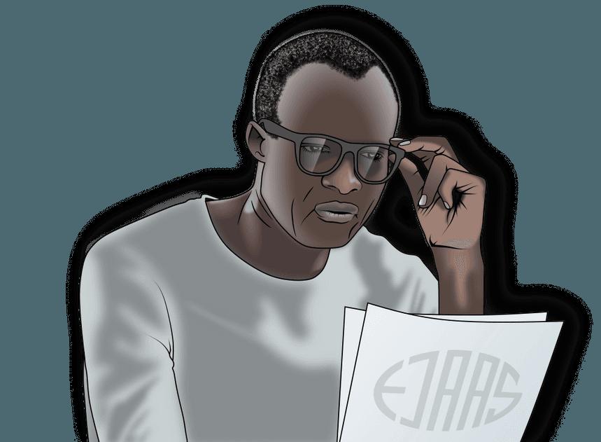 mand der læser i papirer mens han rører sine briller