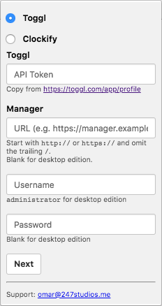 Screenshot of Toggl To Manager.io extension. Form that asks for Toggl API Token, Manager Server URL, Manager Username, and Manager Password.