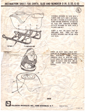 Poloron Products Santa, Sled and Reindeer #C-31, C-32, C-33 Instruction Manual preview