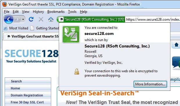21.1: When you connect to a webpage protected by SSL/TLS, the Browswer displays information on the certificate's authenticity