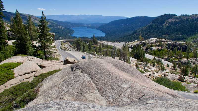 Donner Lake and the road to Donner Pass