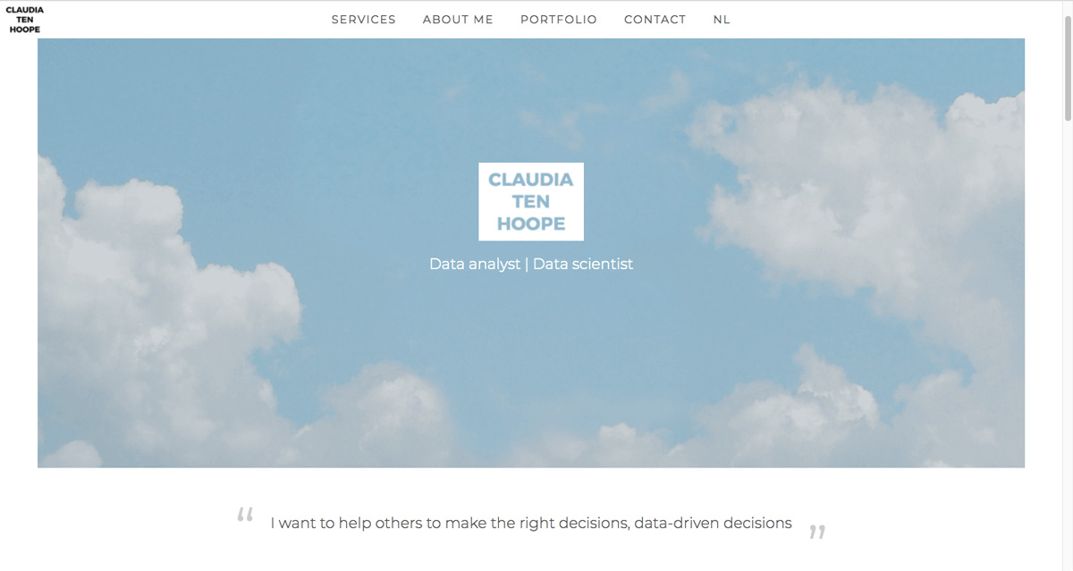 A screenshot from Claudia ten Hoope's data analytics portfolio homepage