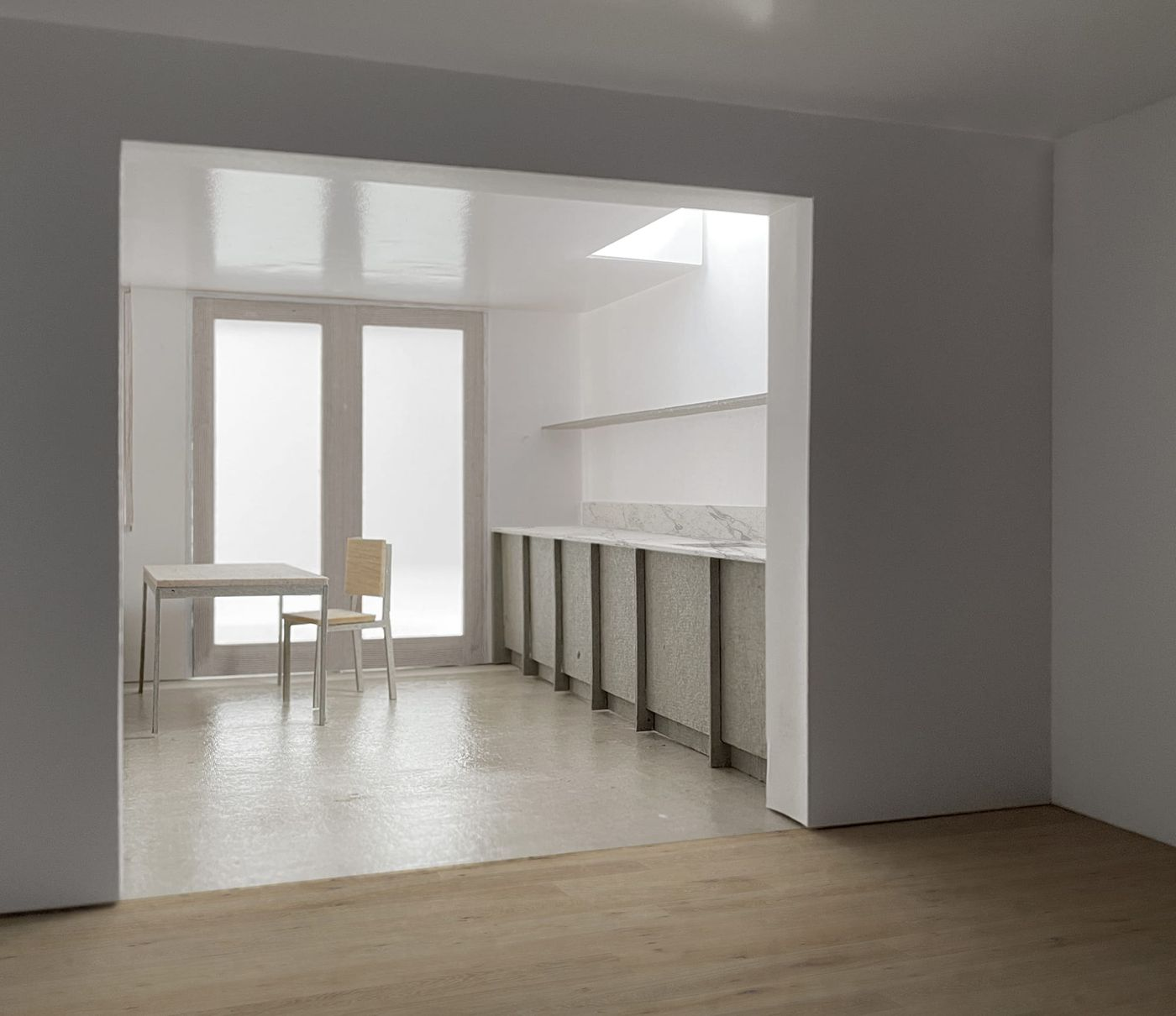 Interior view of the proposed kitchen and dining extension for From Works' rear extension proposal in South London.