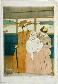 'In the Omnibus' printed by Mary Cassatt in 1890 - Cleveland Museum of Art