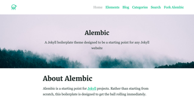 Screenshot of a page created with Jekyll & Alembic theme starter