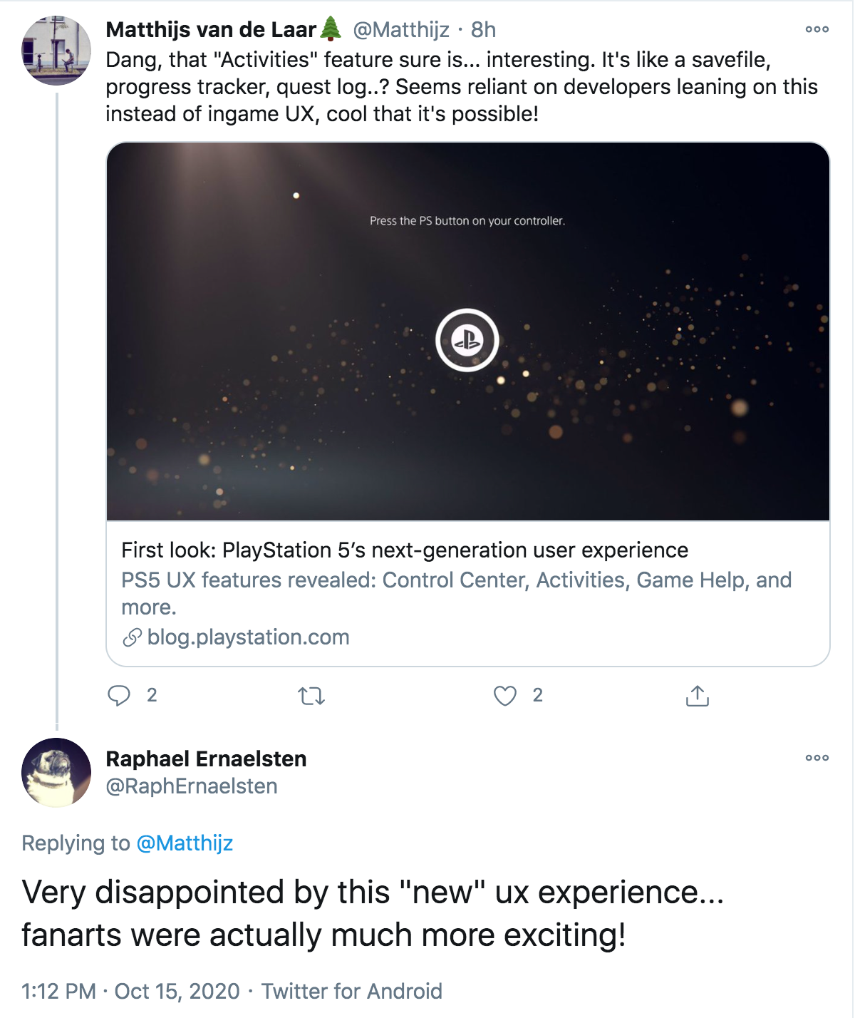 Tweets mentioning PlayStation 5's UX.