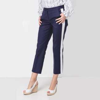 Michael Kors Sateen Cotton White Stripe Pant