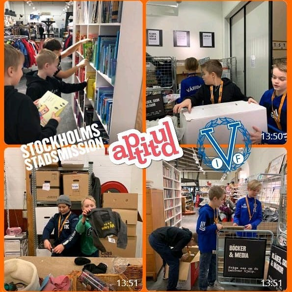 Vi fortsätter stötta ungdomsidrottare som är villiga att göra en samhälls-/välgörenhetsinsats. Så här såg det ut när Värmdö IFs 09:or spenderade helgen med att hjälpa @stockholmsstadsmission.