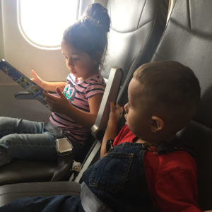 Small children during a flight