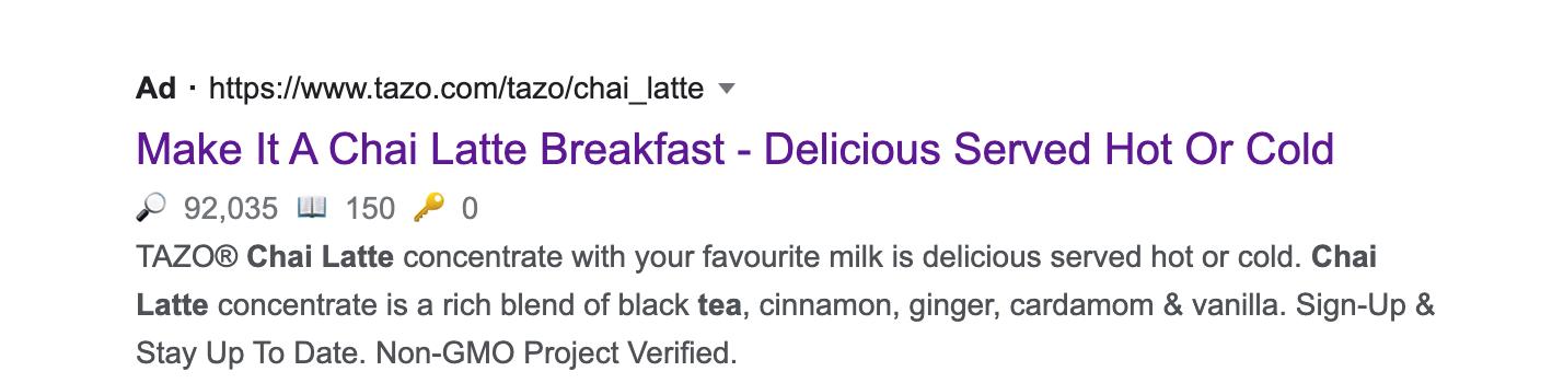 Google web search result for a chai latte.