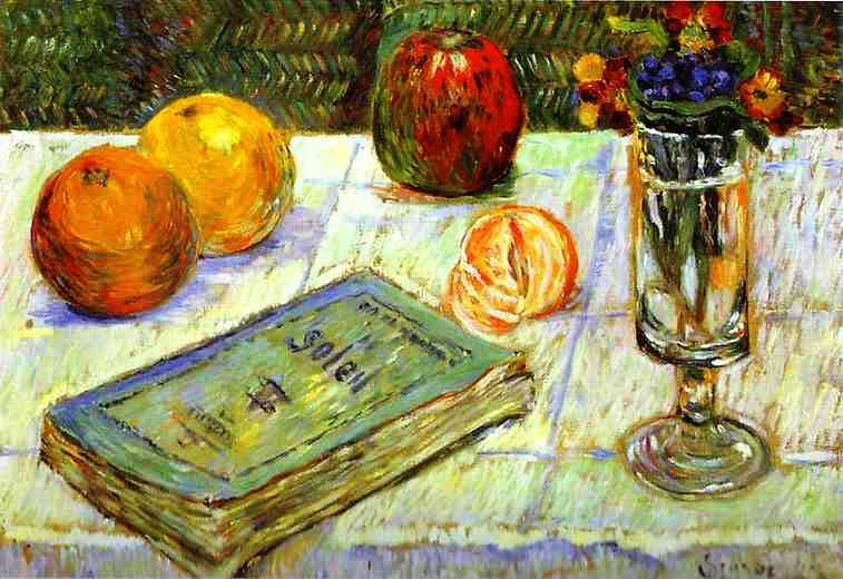 'Still Life with a Book' by Signac in 1883, currently at Gemäldegalerie, Berlin, Germany