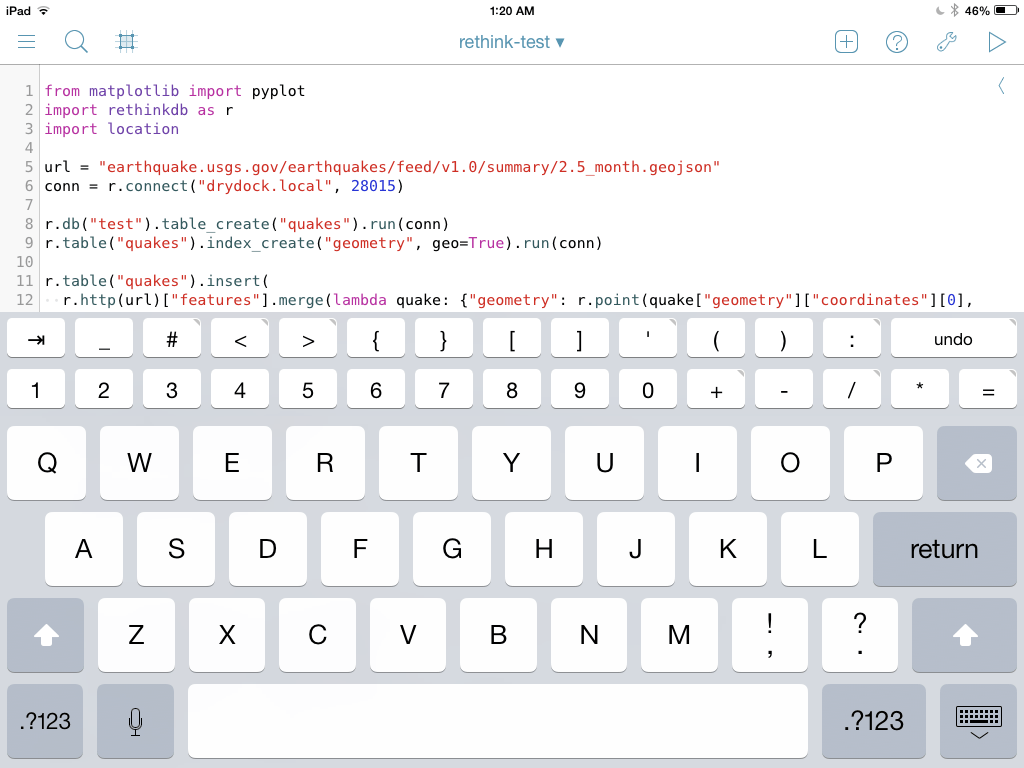 Data science on the iPad with RethinkDB and Pythonista