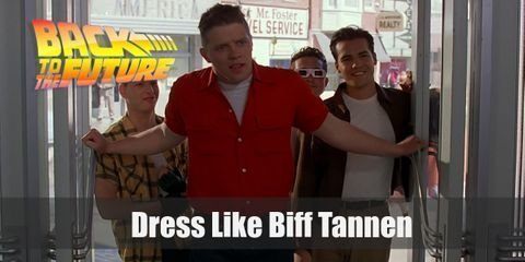 One of his most recognizable Biff Tannen outfits is his look during the 60s. Here's what you will need to recreate this Biff Tannen look for yourself
