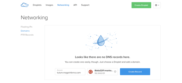 Digital Ocean create record