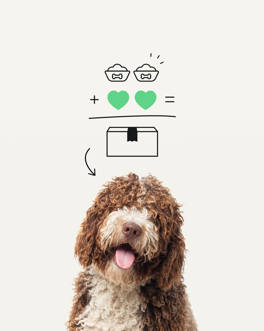 illustration of 'food + love = box' pointing to a happy dog