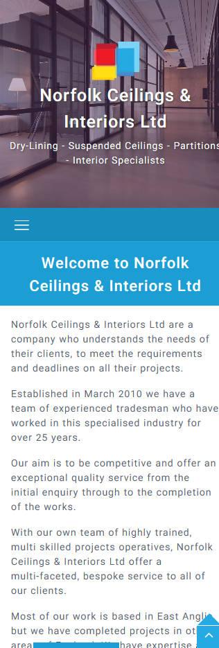 Norfolk Ceilings & Interiors Ltd website frontpage on a mobile