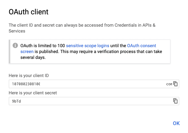 Google Developers Console - Client Id and Client Secret