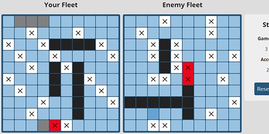 Screenshot of the Battleboat app in action
