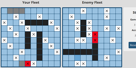 Screenshot of the Battleboat.js app