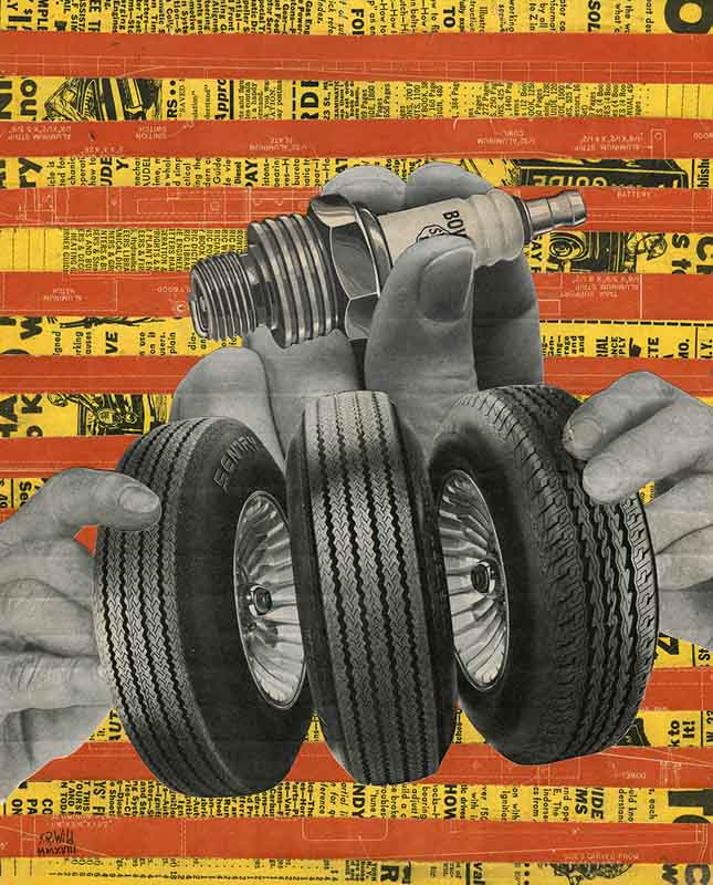 A pair of hands holding three tires with another, larger hand behind the tires holding a sparkplug. Back ground is alternating strips of yellow and reddish orange magazine ads.