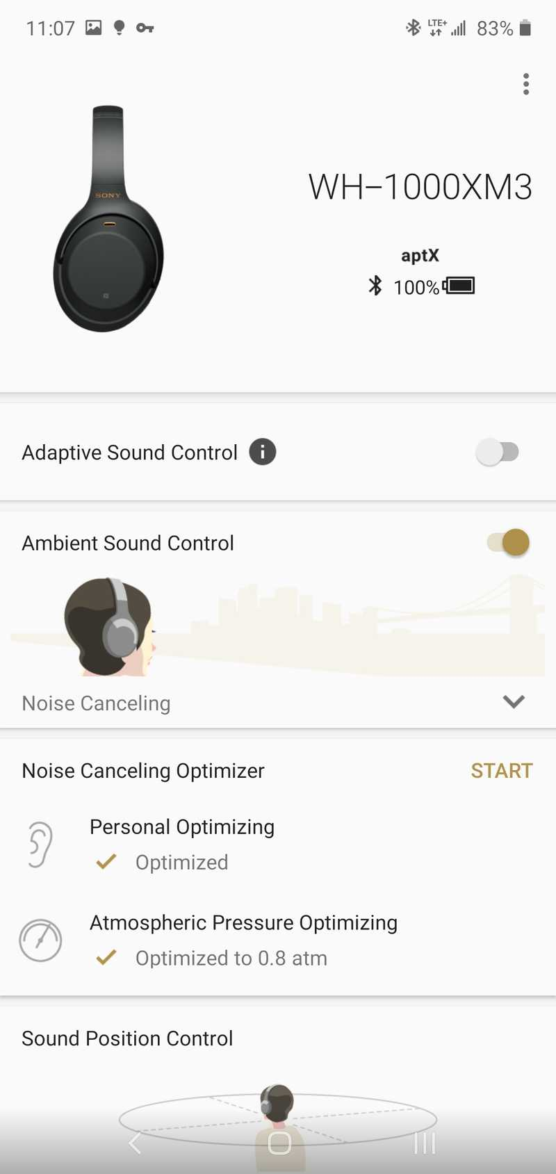 Image of Sony's app for the WH-1000XM3