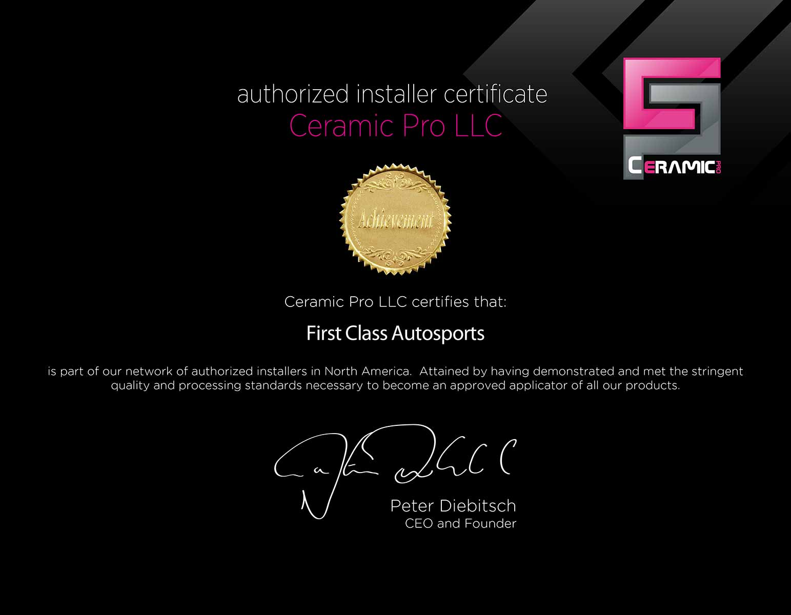 Ceramic pro certification