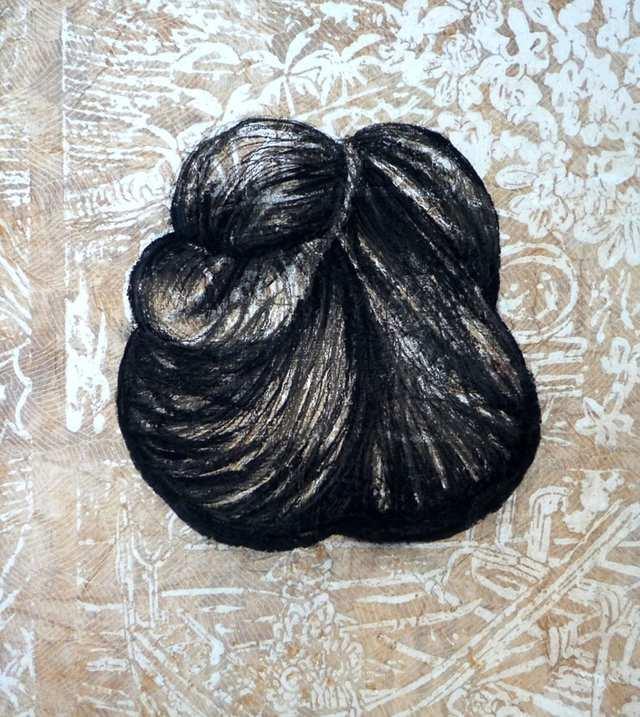 Konde 2, charcoal acrylic collage on canvas