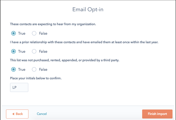 In the Email Opt-In pop-up Window review all the questions